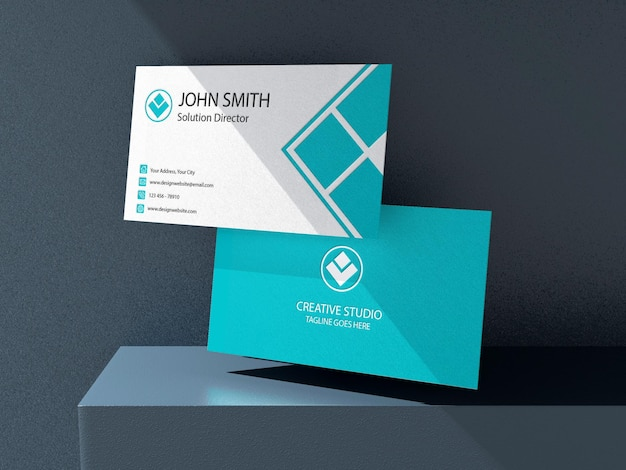 Businese card mockup design rendering with light effect