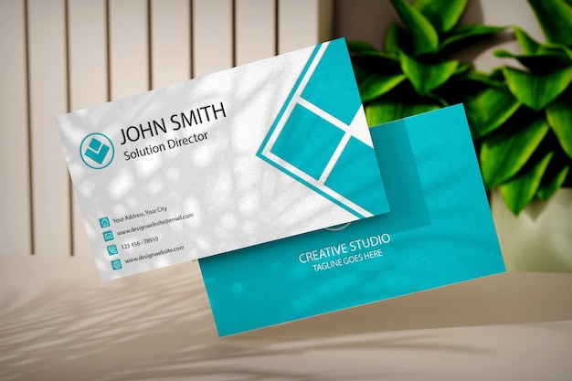 Businese card mockup template with plants