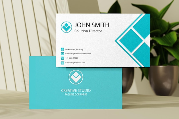 Businese card mockup template with vase plants