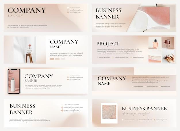 Modello di banner aziendale psd tono terra modificabile per set di marchi di bellezza