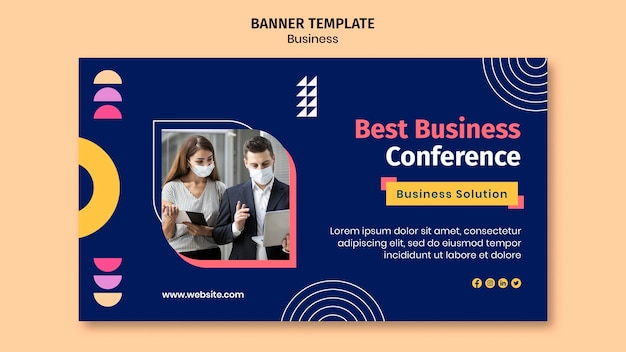 Business banner template with colorful shapes