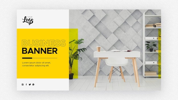 Business banner template with living room and work space