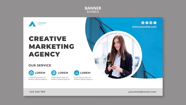 Business banner template with photo
