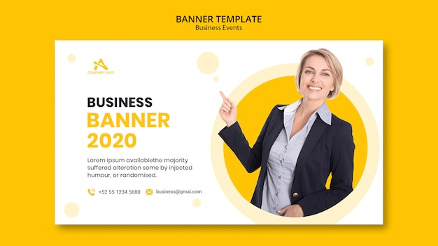 Business banner yellow template