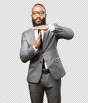 Business black man break time gesture