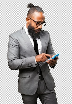 Business black man holding calculator