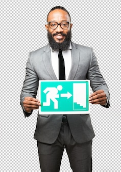 Business black man holding an exit banner