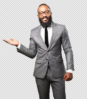 Business black man holding gesture