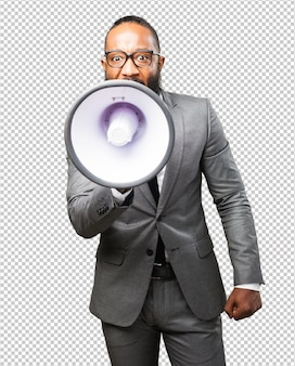 Business black man holding a megaphone