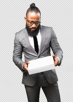 Business black man holding a white box