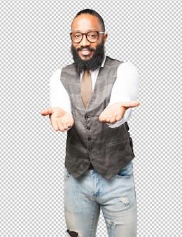 Business black man offering gesture