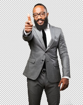 Business black man pointing to front