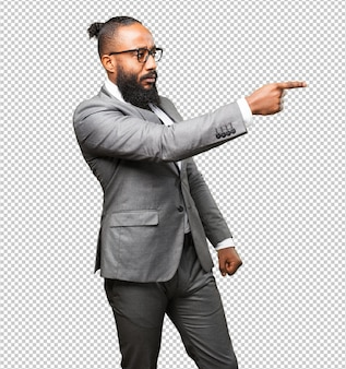 Business black man pointing to the space
