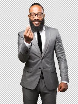 Business black man rich gesture