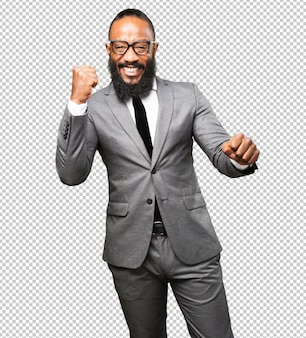 Business black man winner gesture