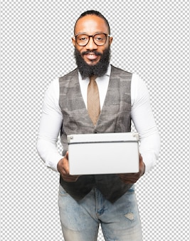 Business black man with a box