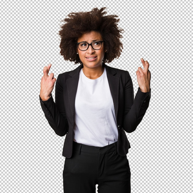 Business black woman crossing her fingers