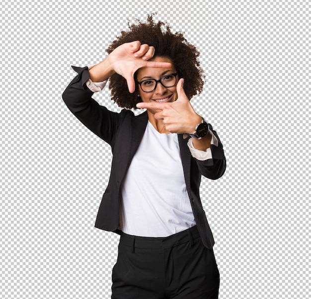 Business black woman doing frame gesture