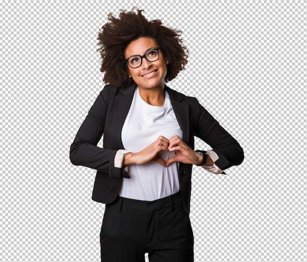 Business black woman doing heart symbol