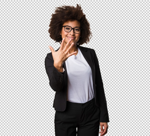 Business black woman doing number five gesture
