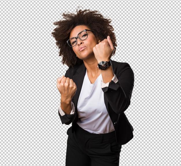 Business black woman doing punch gesture