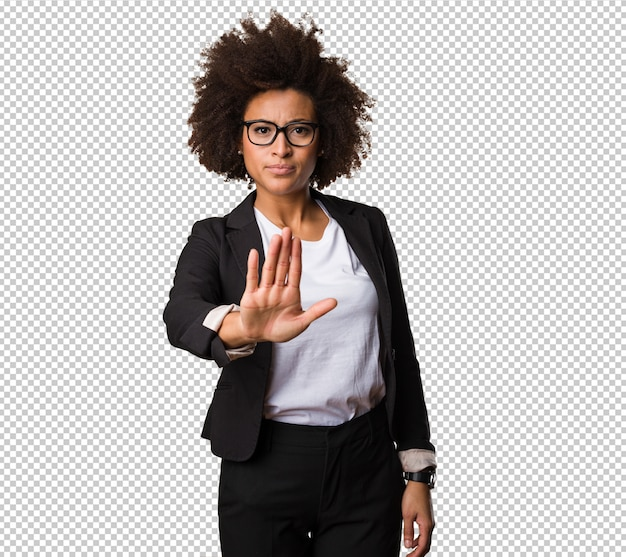 Business black woman doing stop gesture