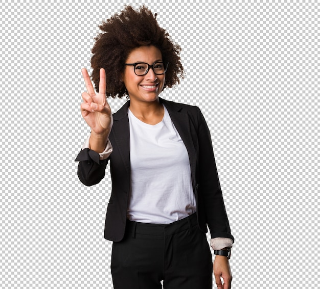 Business black woman doing victory gesture