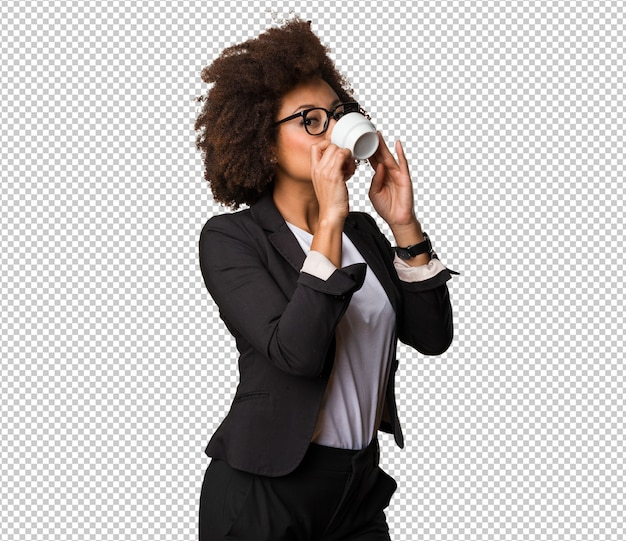 Business black woman drinking coffee