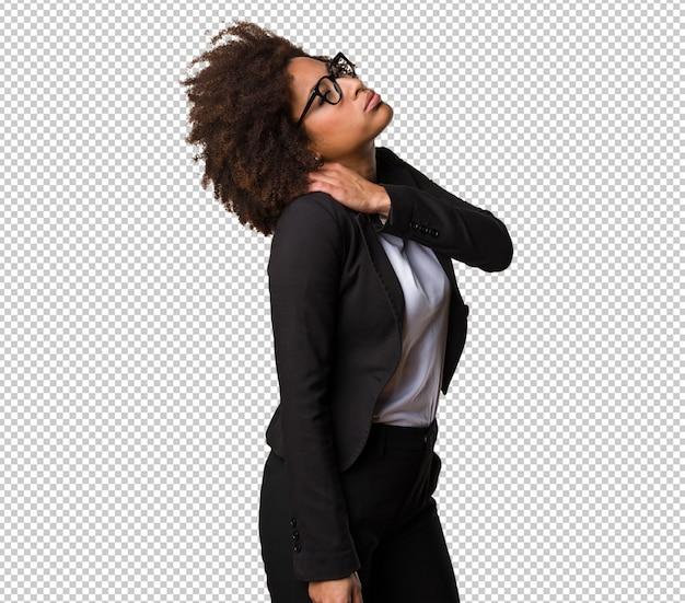 Business black woman having a back ache