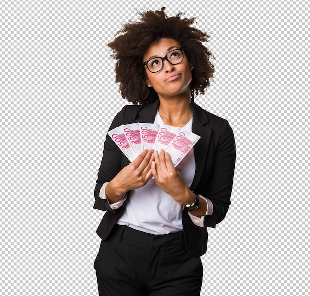 Business black woman holding bills