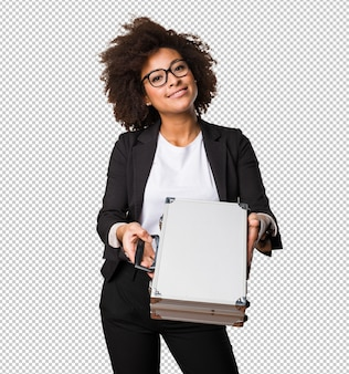 Business black woman holding a briefcase