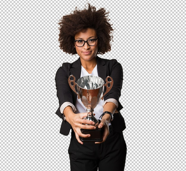 Business black woman holding a trophy
