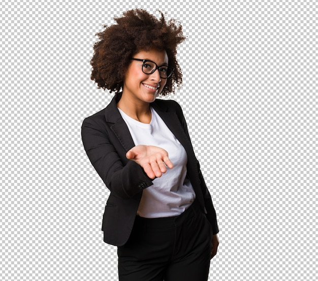 Business black woman offering something