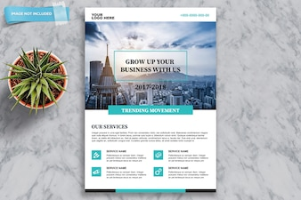Business brochure mockup with plant