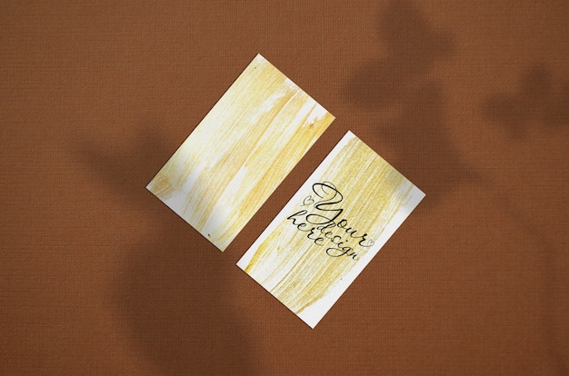 Business card 3.5x2 inch mockup on brown background