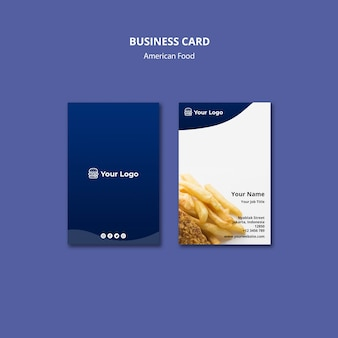 Business card for american food restaurant