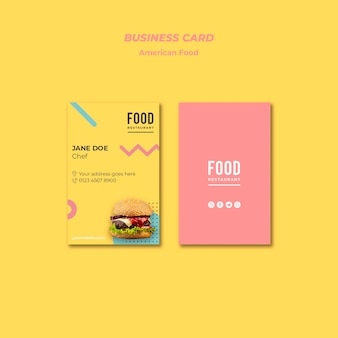 Business card for american food with burger