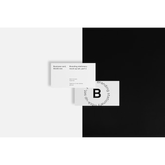 Business card on black and white background mock up