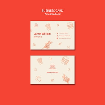 Business card for burger restaurant