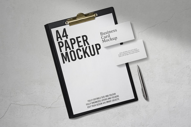 Business card and clipboard mockup