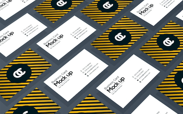 Business card collage mockup design template Premium Psd