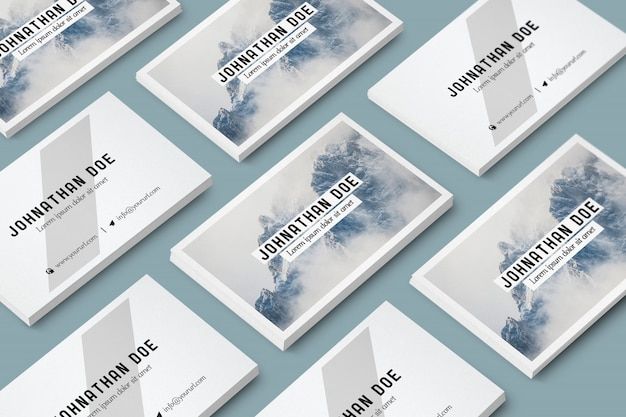 Business card collection mock up