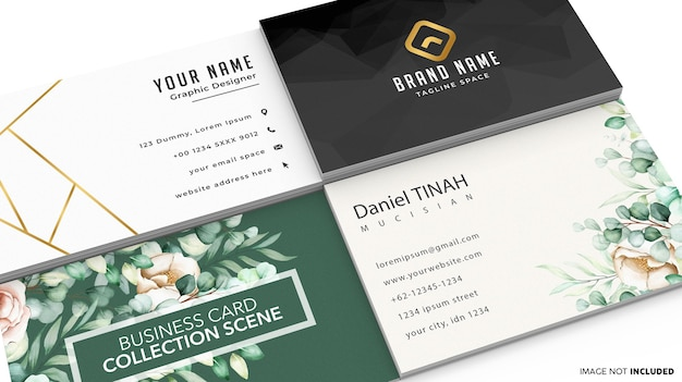Business card collection scene mockup