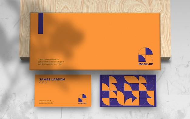 Business card envelope branding mockup psd