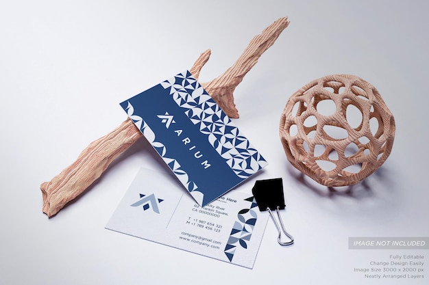 Business card on the floor with twigs