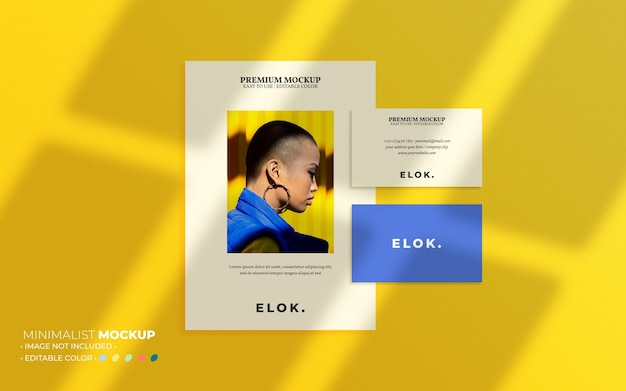 Business card and flyer set mockup composition with overlays
