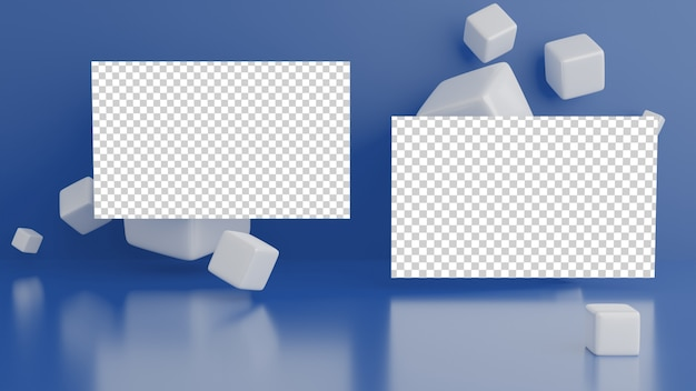 Business card on geometric background