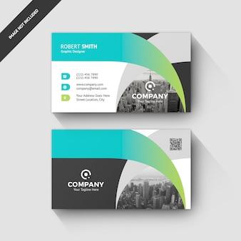 Business card green template