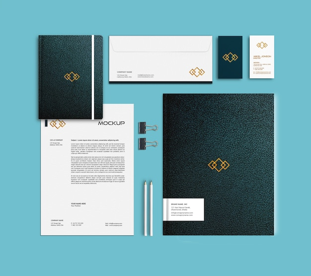 Business card, letterhead, folder and notebook mockup template