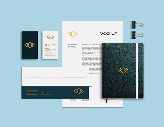 Business card, letterhead and notebook mockup template